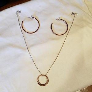 Rose gold earrings and necklaces.